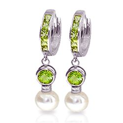 ALARRI 4.3 Carat 14K Solid White Gold Huggie Earrings Pearl Peridot