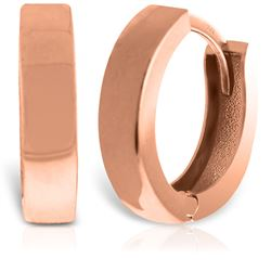 ALARRI 14K Solid Rose Gold Slim Huggie Earrings