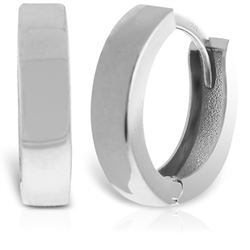 ALARRI 14K Solid White Gold Endearing Huggie Earrings