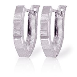 ALARRI 14K Solid White Gold Velvet Nights Huggie Earrings