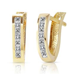 ALARRI 0.04 Carat 14K Solid Gold Oval Huggie Earrings Diamond