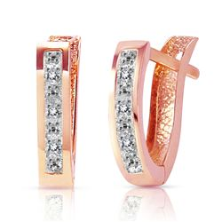 ALARRI 0.04 Carat 14K Solid Rose Gold Oval Huggie Earrings Diamond