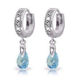 ALARRI 1.37 Carat 14K Solid White Gold Hoop Earrings Diamond Blue Topaz