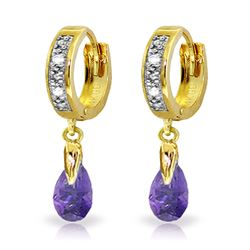 ALARRI 1.37 Carat 14K Solid Gold Hoop Earrings Diamond Amethyst