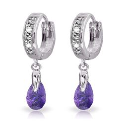 ALARRI 1.37 Carat 14K Solid White Gold Hoop Earrings Diamond Amethyst