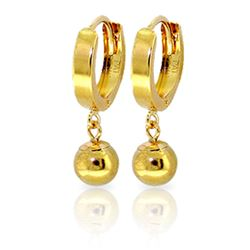 ALARRI 14K Solid Gold Hoop Earrings Ball Dangling