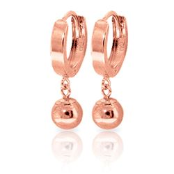 ALARRI 14K Solid Rose Gold Hoop Earrings Ball Dangling