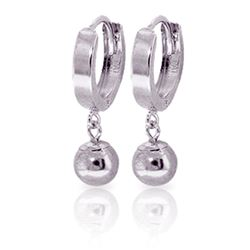 ALARRI 14K Solid White Gold Hoop Earrings Ball Dangling