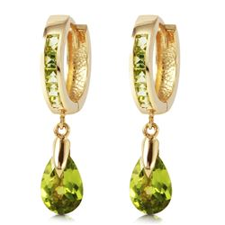 ALARRI 3.9 Carat 14K Solid Gold Huggie Earrings Dangling Peridot