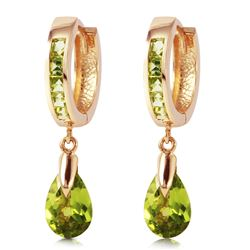 ALARRI 3.9 Carat 14K Solid Rose Gold Huggie Earrings Dangling Peridot
