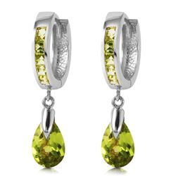 ALARRI 3.9 Carat 14K Solid White Gold Huggie Earrings Dangling Peridot