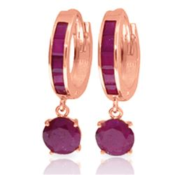 ALARRI 3.3 Carat 14K Solid Rose Gold Huggie Earrings Natural Ruby