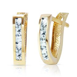 ALARRI 0.85 Carat 14K Solid Gold Oval Huggie Earrings Aquamarine