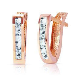 ALARRI 0.85 Carat 14K Solid Rose Gold Oval Huggie Earrings Aquamarine