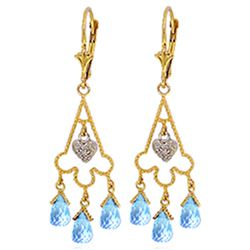 ALARRI 4.83 Carat 14K Solid Gold Chandelier Diamond Earrings Blue Topaz