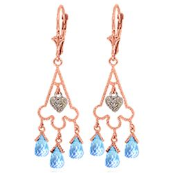 ALARRI 4.83 Carat 14K Solid Rose Gold Chandelier Diamond Earrings Blue Topaz
