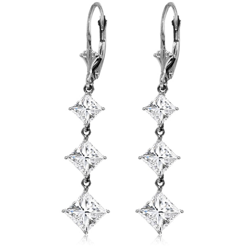 8cd3307e96c166 ALARRI 14K. White Gold Cubic Zirconia Leverback Chandelier Earring