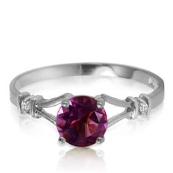 ALARRI 0.92 CTW 14K Solid White Gold Good Winner Amethyst Diamond Ring