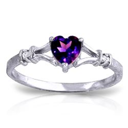 ALARRI 0.47 CTW 14K Solid White Gold Rings Natural Diamond Purple Amethyst