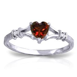 ALARRI 0.47 Carat 14K Solid White Gold Rings Natural Diamond Garnet