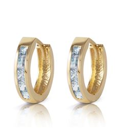 ALARRI 0.85 Carat 14K Solid Gold Hoop Huggie Earrings Aquamarine