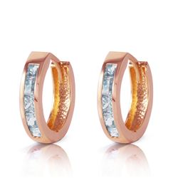 ALARRI 0.85 CTW 14K Solid Rose Gold Hoop Huggie Earrings Aquamarine