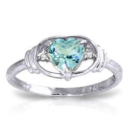 ALARRI 0.96 Carat 14K Solid White Gold Sunny Afternoon Blue Topaz Diamond Ring