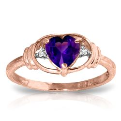 ALARRI 0.96 Carat 14K Solid Rose Gold Glory Amethyst Diamond Ring