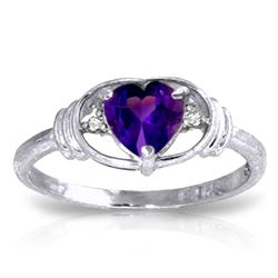 ALARRI 0.96 Carat 14K Solid White Gold First Let Go Amethyst Diamond Ring