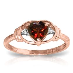ALARRI 0.96 CTW 14K Solid Rose Gold Glory Garnet Diamond Ring