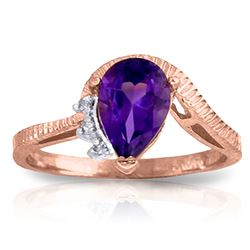ALARRI 1.52 Carat 14K Solid Rose Gold Ring Diamond Purple Amethyst