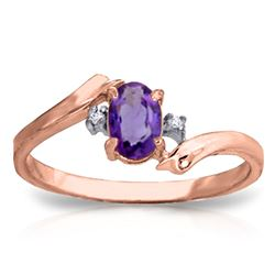 ALARRI 0.46 CTW 14K Solid Rose Gold Mystic Amethyst Diamond Ring