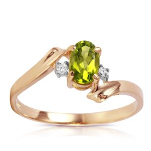 ALARRI 0.46 CTW 14K Solid Rose Gold Rings Natural Diamond Peridot