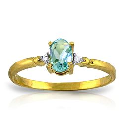 ALARRI 0.46 CTW 14K Solid Gold Yes Oh Yes Blue Topaz Diamond Ring
