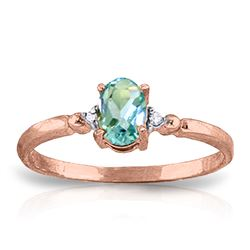 ALARRI 0.46 Carat 14K Solid Rose Gold Young Love Blue Topaz Ring