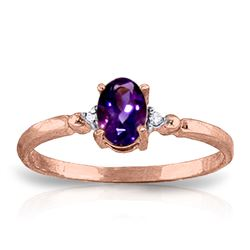 ALARRI 0.46 CTW 14K Solid Rose Gold Young Love Amethystr Diamond Ring