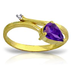 ALARRI 0.83 Carat 14K Solid Gold Ireland Amethyst Diamond Ring