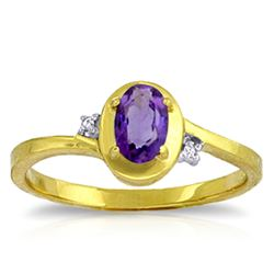 ALARRI 0.51 Carat 14K Solid Gold Rings Diamond Purple Amethyst