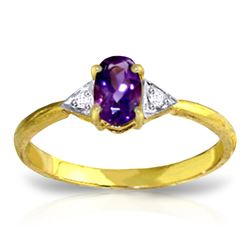 ALARRI 0.46 CTW 14K Solid Gold Fly Away Amethyst Diamond Ring