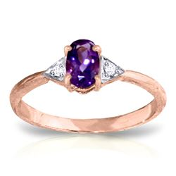 ALARRI 0.46 Carat 14K Solid Rose Gold Oval Amethyst Diamond Ring