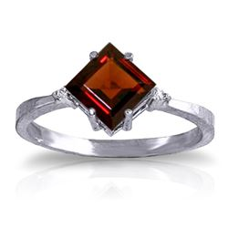 ALARRI 1.77 CTW 14K Solid White Gold Simlify And Enjoy Garnet Diamond Ring
