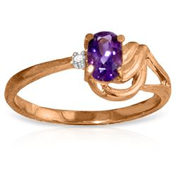 ALARRI 14K Solid Rose Gold Ring w/ Diamond & Amethyst