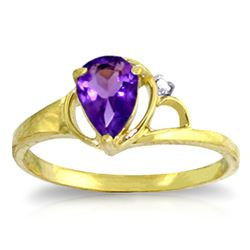 ALARRI 0.66 Carat 14K Solid Gold Home And Away Amethyst Diamond Ring