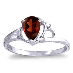 ALARRI 0.66 Carat 14K Solid White Gold Toward Peace Garnet Diamond Ring