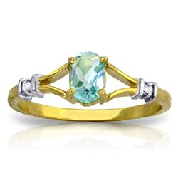 ALARRI 0.46 Carat 14K Solid Gold My Love Is Constant Blue Topaz Diamond Ring