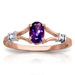 ALARRI 0.46 Carat 14K Solid Rose Gold Emotion Amethyst Diamond Ring