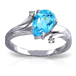 ALARRI 1.51 CTW 14K Solid White Gold Only Hold You Blue Topaz Diamond Ring