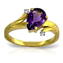 ALARRI 1.51 Carat 14K Solid Gold The Way We Are Amethyst Diamond Ring