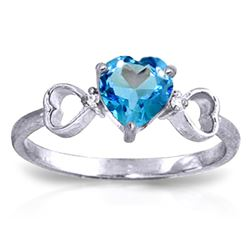 ALARRI 0.96 Carat 14K Solid White Gold Carry You Home Blue Topaz Diamond Ring