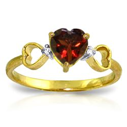 ALARRI 0.96 Carat 14K Solid Gold Soul Mate Garnet Diamond Ring